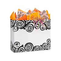 "Pack Of 250, Bohemian Swirls Recycled Paper Bags W/White Paper Twist Handles - Vogue 16 X 6 X 13"" Made In Usa"