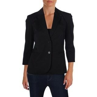 Lauren Ralph Lauren Womens Two-Button Blazer Twill Notch Lapel