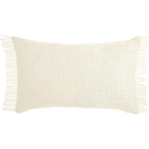 """Mina Victory Luminescence Ivory Throw Pillow , ( 12"""" x 20"""" )"""