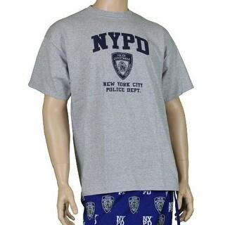 NYPD Short Sleeve Navy Print Logo T-Shirt Gray Large