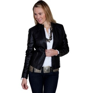 Scully Jacket Womens Long Sleeve Ribbed Leather Knit Panel Zip L331