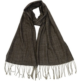 Winter Fall Cold Weather Cashmere Feel Herringbone Scarf, Brown