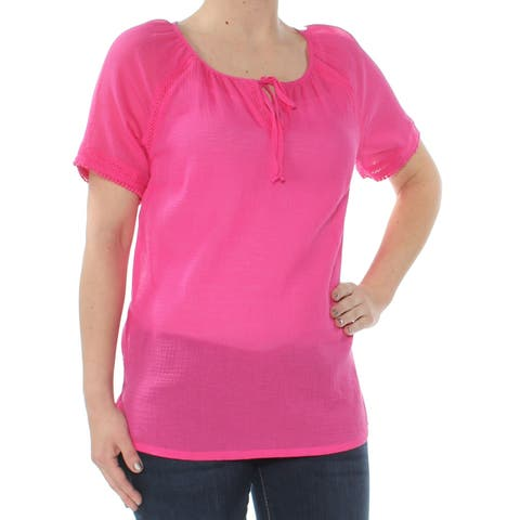 TOMMY BAHAMA Womens Pink Embroidered Short Sleeve Keyhole Peasant Top Size: 2XS