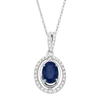 1 ct Natural Sapphire & 1/10 ct Diamond Oval Pendant in 10K White Gold - Blue