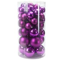 "50ct Purple Shatterproof Shiny and Matte Christmas Ball Ornaments 2.4""-3""-4"""