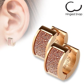 Pair of Rose Gold IP Square Pink Sand Sparkle Stainless Steel Hoop Earrings