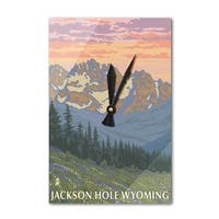 Jackson Hole, WY - Spring Flowers - LP Art (Acrylic Wall Clock) - acrylic wall clock