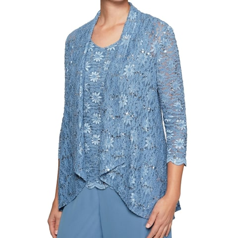 Alex Evenings Blue Women's Size Small S Sequin Lace Shell Jacket