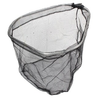 "Unique Bargains 15.5"" x 14.7"" x 9"" Nylon Triangle Shape Portable Fishing Landing Net Fish Angler Mesh Black Silver Tone"