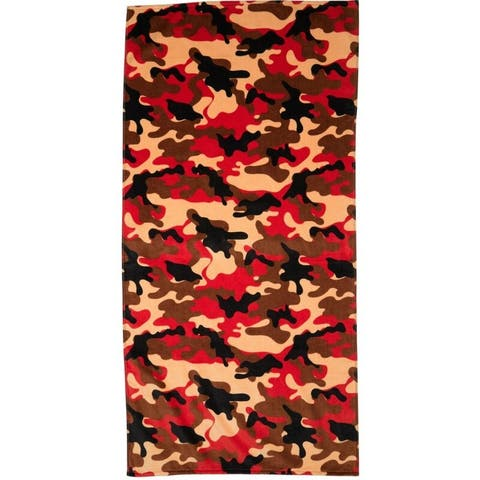 Camouflage Orange 30x60 Brazilian Velour Beach Towel