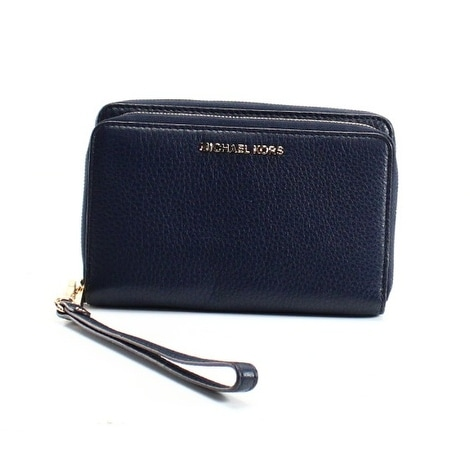 Shop Michael Kors NEW Navy Blue Gold Pebble Leather Adele Wristlet Wallet -  Free Shipping Today - Overstock - 18735671 ada05c67869d5