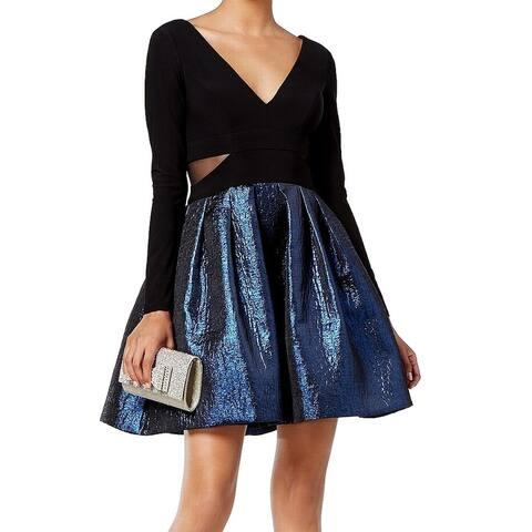 Xscape Blue Black Womens Size 4P Metallic Petite A-Line Dress
