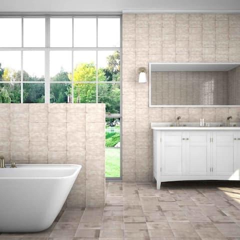 "The Tile Life Coastal 8"" x 2"" Polished Ceramic Bullnose Tile Trim - 8"" x 2"" of 1"