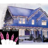 Set of 100 Pink Mini Icicle Christmas Lights - White Wire