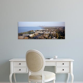 Easy Art Prints Panoramic Images's 'Aerial view of a city at the coast with Chicago, Evanston, Illinois' Canvas Art