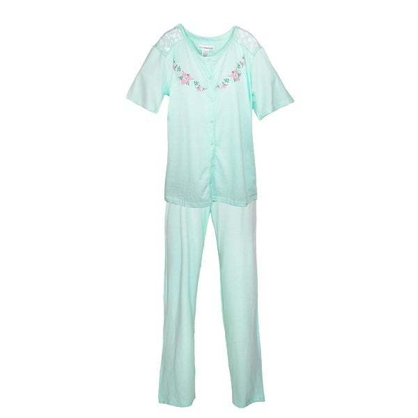 Sag Harbor Women's Plus Size Embroidered Short Sleeve Pajama Set