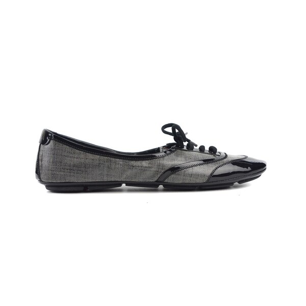 07b2b27bdf1 Shop Prada Women s Black Grey Patent leather Lace Up Sneakers - Free ...