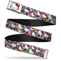 Hello Kitty Face Fcg White  Chrome Hello Kitty Count Pink Webbing Web Belt