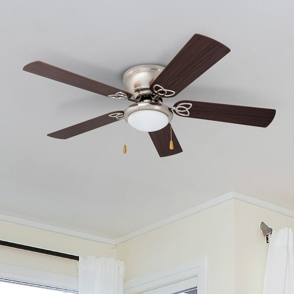 Prominence Home Benton Maple/ Brushed Nickel Hugger LED Ceiling Fan. Opens flyout.