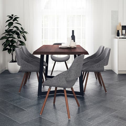 WYNDENHALL Malone Modern Industrial 7 Pc Dining Set with 6 Upholstered Bentwood Dining Chairs and 72 inch Wide Table