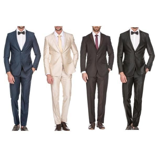 4270c41693 Shop Porto Filo Men's 2 Piece Solid Textured Slim Fit Suit (Brown ...