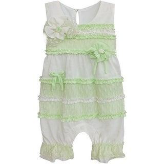 Isobella & Chloe Baby Girls Mint Sleeveless Ruffle Lace Kelli Romper 3M-24M