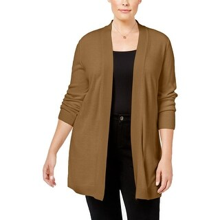 Karen Scott Womens Plus Cardigan Sweater Open Front Long Sleeve