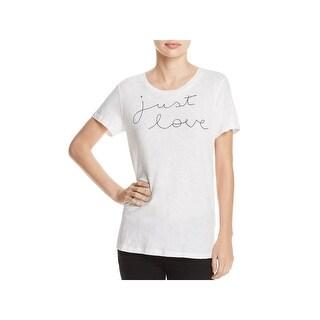 Sundry Womens Juniors Just Love Slogan T-Shirt Embroidered Short Sleeves