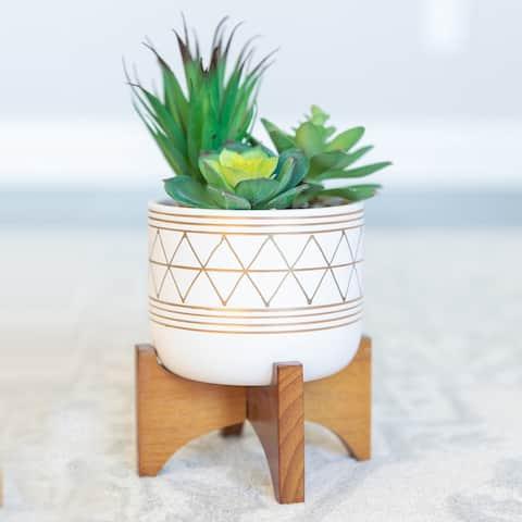"5"" White/Gold Ceramic Geometric W/Wood Stand Planter Pot Mid Century"