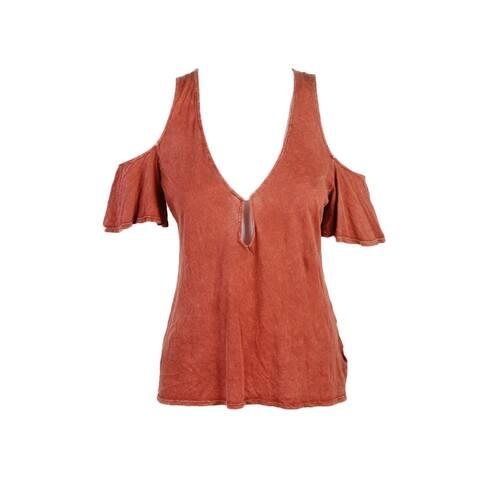 Project Social Terra Cota Orange V-Neck Cold-Shoulder Tee L