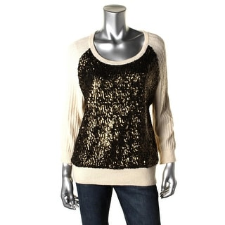 French Connection Womens Wool Blend Sequined Pullover Sweater