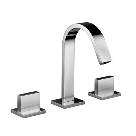 "WS Bath Collections Level LEP 052 Fonte Widespread Double Handle Lavatory Faucet with 4.3"" Spout Height - Polished Chrome"