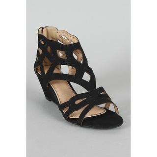 Bamboo Women Matthew-02 Closed Back Low Wedge Sandals
