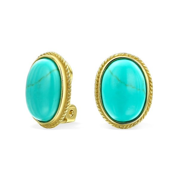 43d72ffb3 Reconstituted Turquoise Oval Bezel Set Gold Plated 925 Sterling Silver Rope  Alloy Clip On Earrings