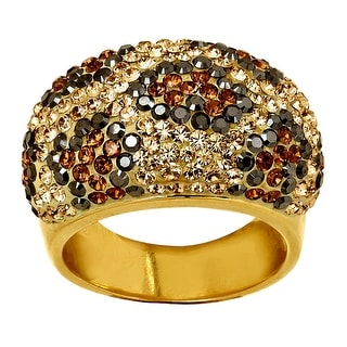Crystaluxe Leopard Dome Ring with Swarovski Crystals in 18K Gold-Plated Sterling Silver - Multi-Color