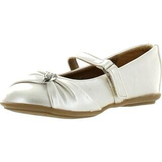 Little Angel Girls Kammi-191D Leatherette Mary Jane Heart Pendant Ballerina Flat - Ivory