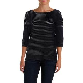 St John Womens 3/4 Sleeves Striped Sweater - M