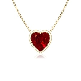 Bezel Set Solitaire Heart Shaped Ruby Pendant in 14K Yellow Gold(4mm Ruby)
