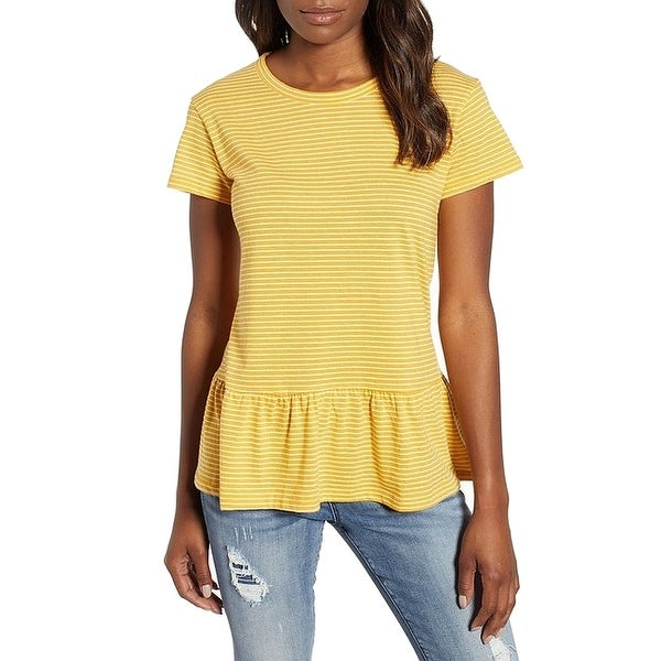 3c30019832cba7 Shop Caslon Yellow Womens Size Medium M Scoop Neck Striped Peplum Top -  Free Shipping On Orders Over  45 - Overstock - 27590659