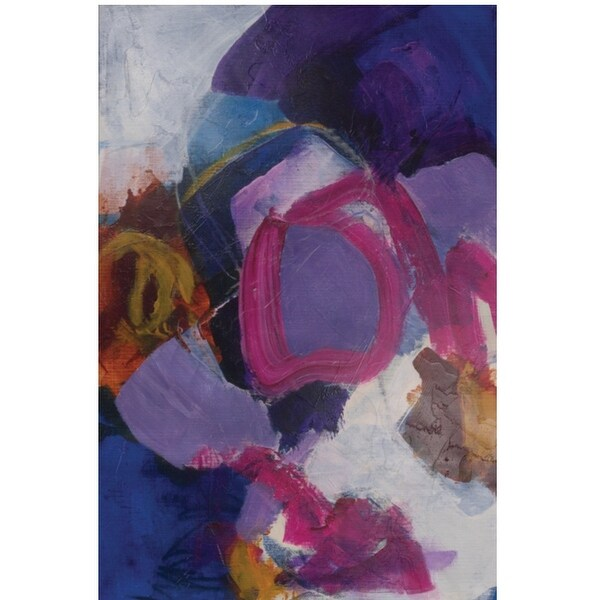 """36"""" Purple Printed Abstract Design Rectangular Wall Art Painting - N/A"""