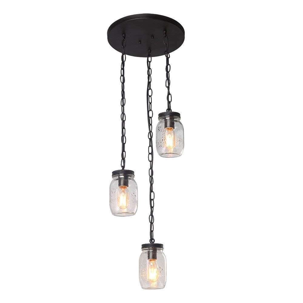 3 Light Spiral Chandelier Gl Mason Jar Chain Ceiling Fixture