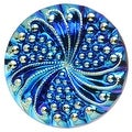 Czech Glass, Engraved Round Buttons with Swirl 23mm, 2 Pieces, Blue AB on Jet - Thumbnail 0