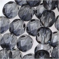 Czech Fire Polished Glass Two Toned Beads 6mm Round Gray Crystal (25)