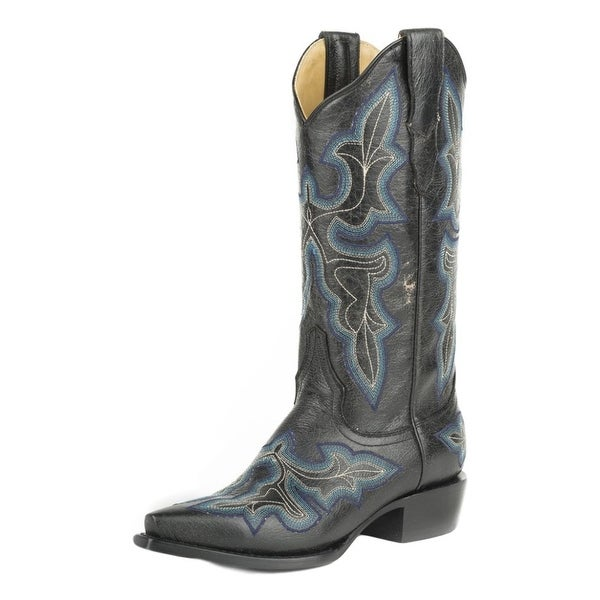 Stetson Western Boot Womens Stacked Heel Black