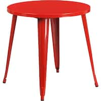 Brimmes Round 30'' Red Metal Table for Patio/Bar