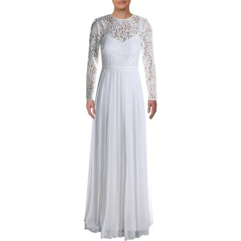Kay Unger New York Womens Evening Dress Lace Pleated - White