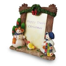 Happy Trails Christmas Snowmen Picture Frame