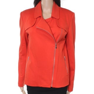 Rafaella NEW Orange Women Medium M Asymmetrical-Zip Ponte-Knit Jacket