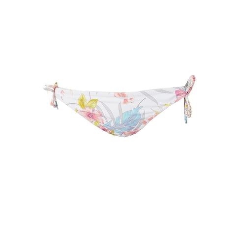 Raisins Juniors White Multi Maui Gardens Side-Tie Bikini Bottom S