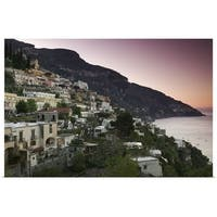 Poster Print entitled Town on the hillside, Positano, Salerno, Campania, Italy - Multi-color